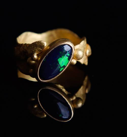 Black Opal and 22ct Gold Ring