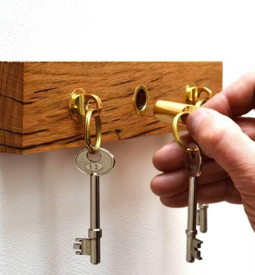 Reclaimed Oak Key Holder + Brass Fobs
