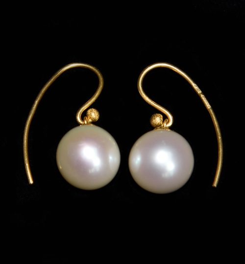 White Pearl and 22ct Gold Earrings