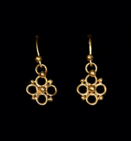 Delicate 22ct Gold Quatrefoil Earrings