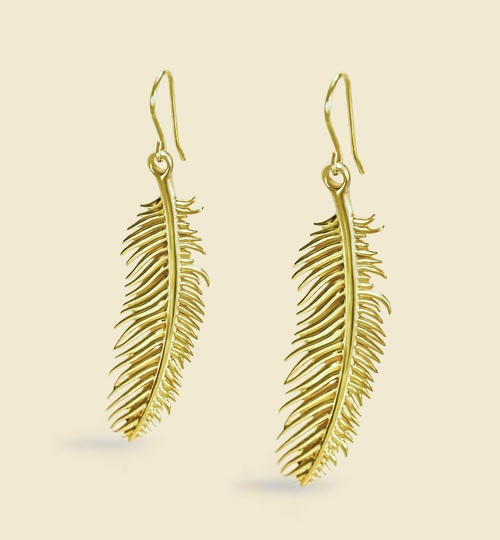 3D Printed Gold Feather Earrings