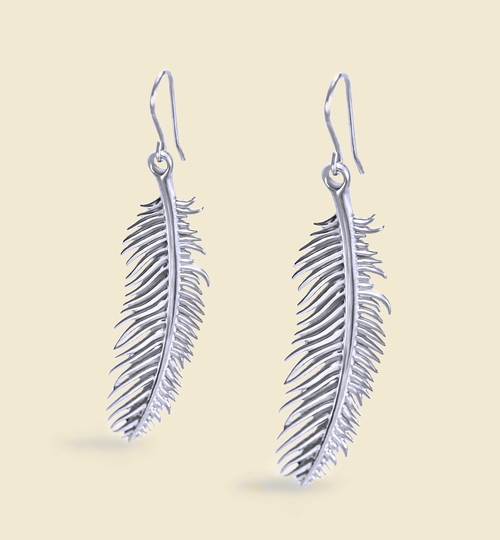 3D Printed Silver Feather Earrings