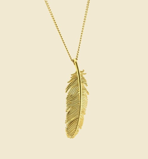 3D Printed Gold Feather Necklace