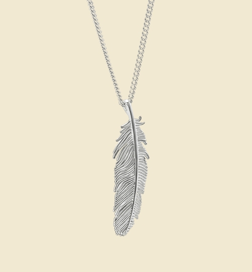 3D Printed Silver Feather Necklace