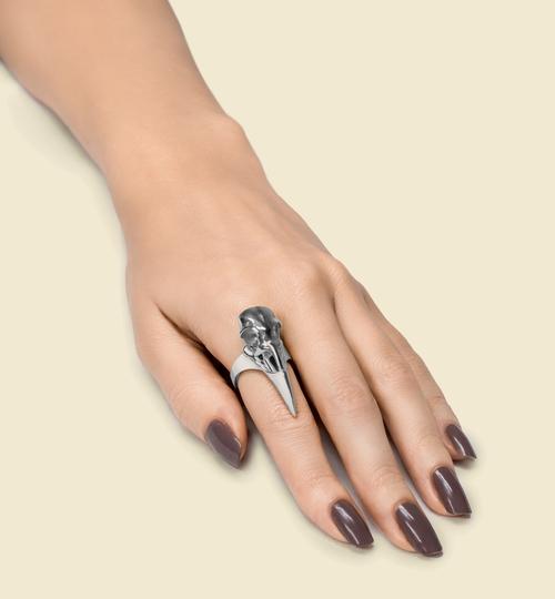 3D Printed Silver Raven Skull Ring