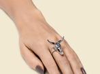 3D Printed Silver Bull Skull Ring