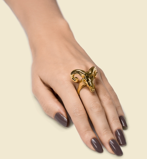 3D Printed Gold Ram Skull Ring