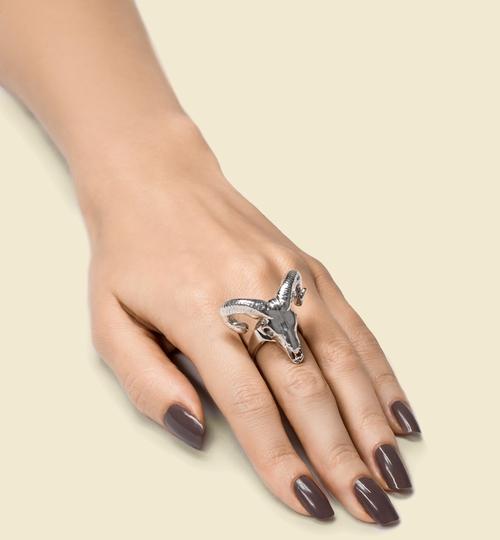 3D Printed Silver Ram Skull Ring
