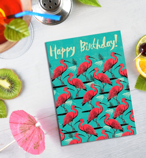 Scarlet Ibis Birthday Card