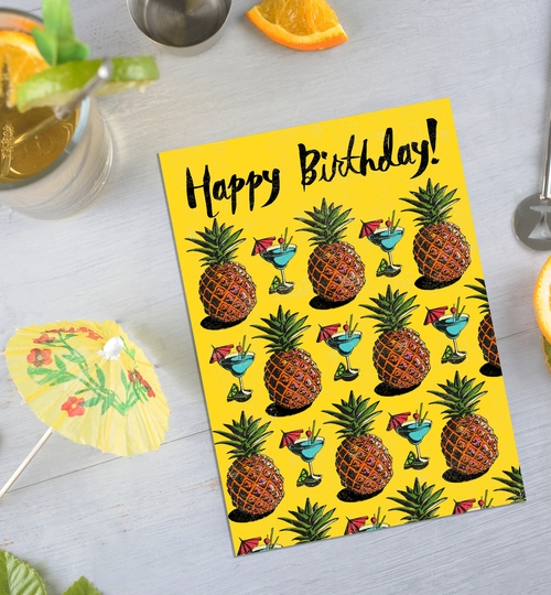 Pineapples & Cocktails Birthday Card