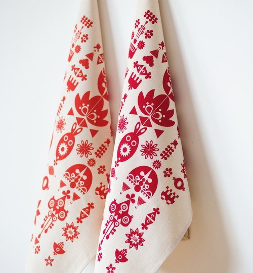 Hand Screen Printed Tea Towel - Red