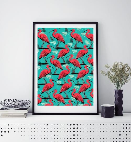 A3 Scarlet Ibis Art Print