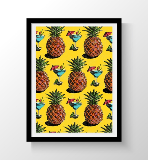 A3 Pineapples & Cocktails Art Print