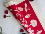 Set Of 4 Screen Printed Napkins - Red