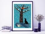 Winter Dog And Tree A3 Art Print