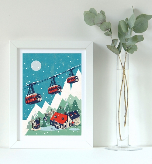 Nordic Cable Cars A3 Art Print