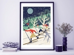 Skiers Nordic Style A3 Art Print
