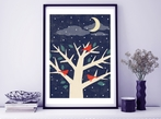 Winter Birds In Tree A3 Art Print