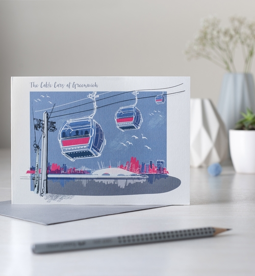 Greenwich Cable Cars, Greetings Card
