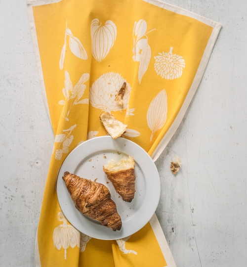 Hand Screen Printed Tea Towel - Yellow