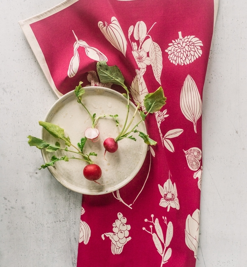 Hand Screen Printed Tea Towel - Pink
