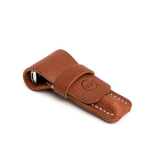 Brown Leather Safety Razor Pouch