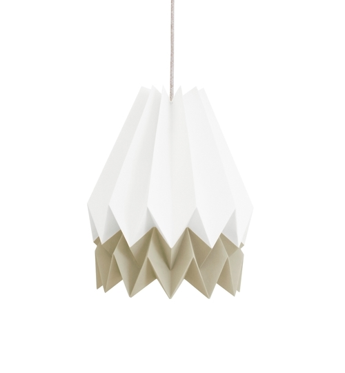 White & Taupe Origami Lightshade