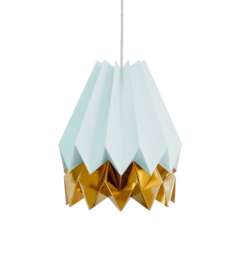 Mint Blue & Gold Origami Lightshade