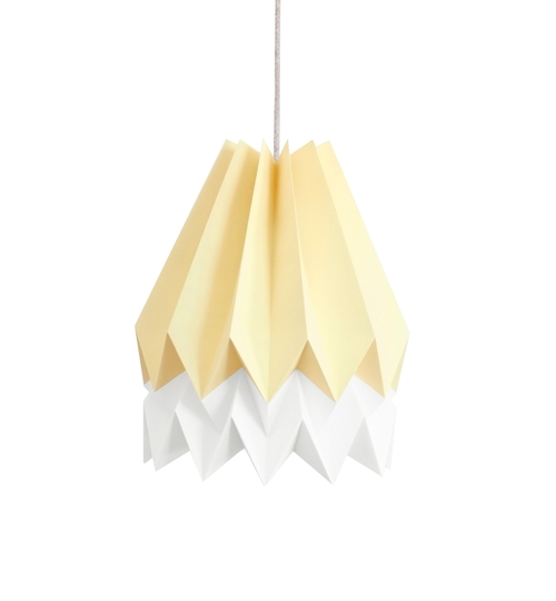 Pale Yellow & White Origami Lightshade