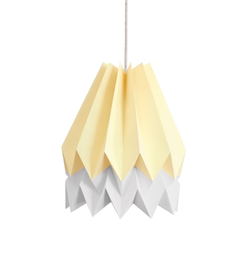 Pale Yellow & Grey Origami Lightshade