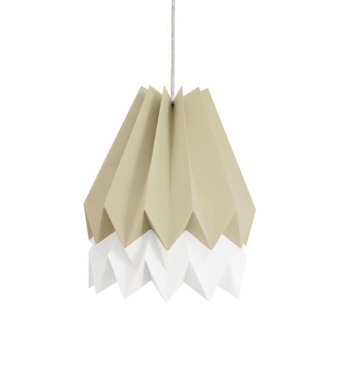Taupe & White Origami Lightshade