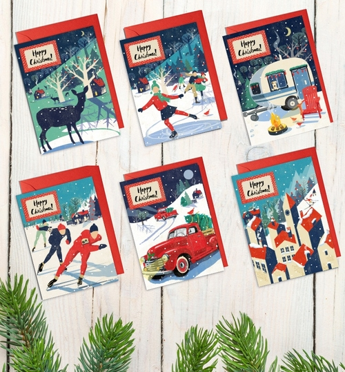 Pack Of 6 Nordic Style Christmas Cards