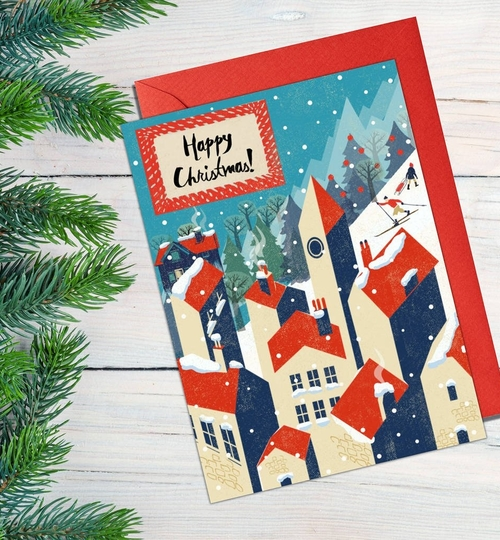 Winter Village Christmas Card