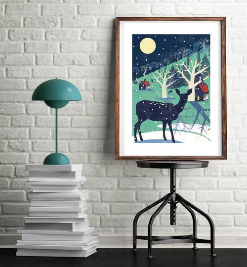 Winter Deer A3 Art Print