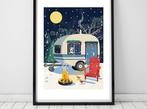Cosy Caravan Christmas A3 Art Print
